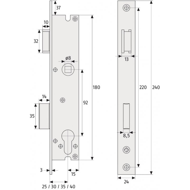 abus rr25 rohrrahmenschloss einsteckschloss dornma 25mm. Black Bedroom Furniture Sets. Home Design Ideas
