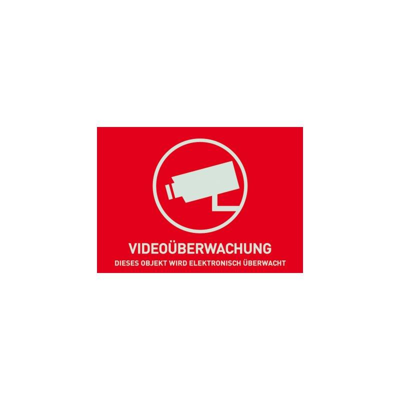 ABUS AU1321 Warn-Aufkleber Video ohne ABUS Logo 74x52,5 mm TĂĽr Fenster