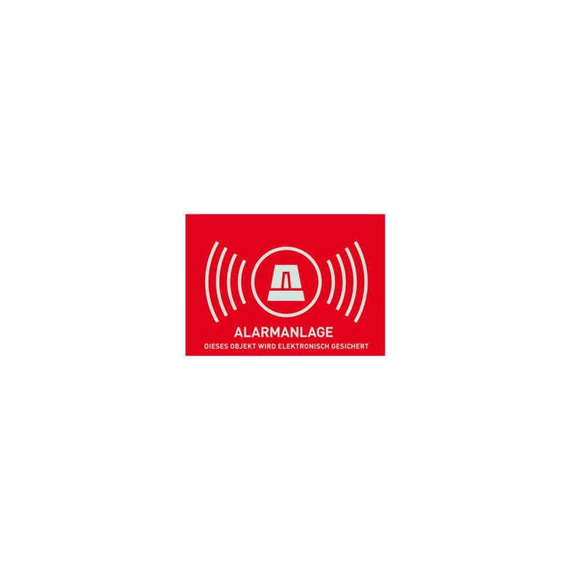 ABUS AU1323 Warn-Aufkleber Alarm ohne ABUS Logo 74 x 52,5 mm Tür Fenster