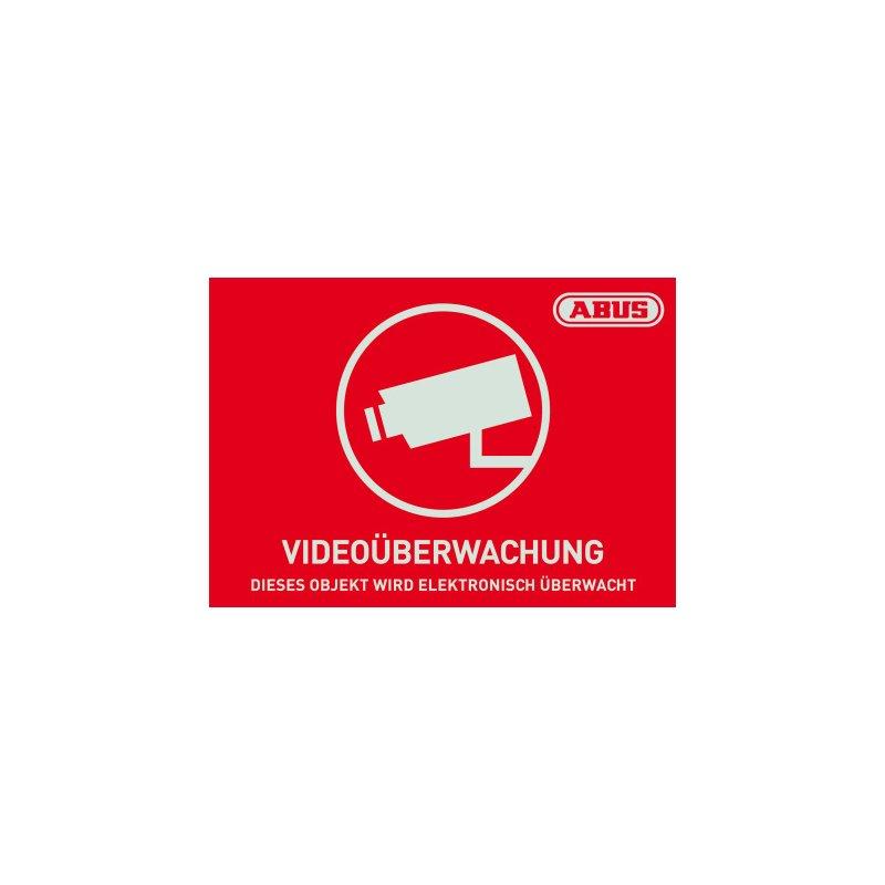 ABUS AU1421 Warn-Aufkleber Video 74x52,5 mm TĂĽr Fenster VideoĂĽberwachung