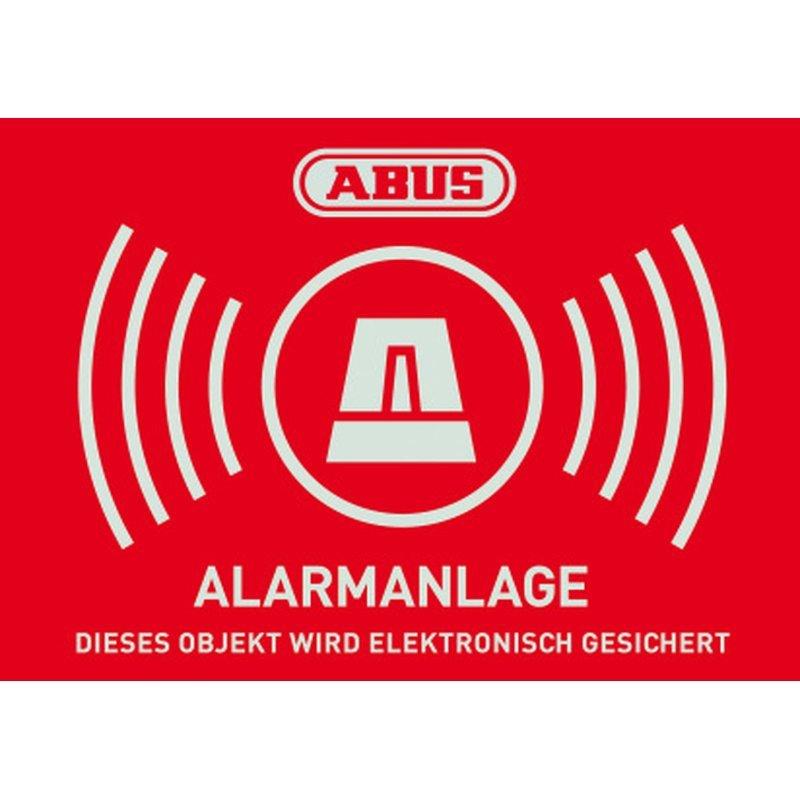 ABUS AU1423 Warn-Aufkleber Alarm 74x52,5 mm TĂĽr Fenster Alarmanlage