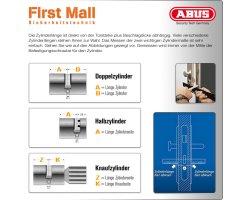 ABUS ECK550 Knaufzylinder Z120/K30 mm Wendeschlüssel mit 3 Schlüssel
