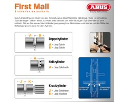 ABUS ECK550 Knaufzylinder Wendeschlüssel Z40/K60 mm gleichschließend