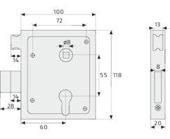 ABUS ASS SF PZ  Aufschraubschloss mit schießender Falle rechte und linke Türen und Tore