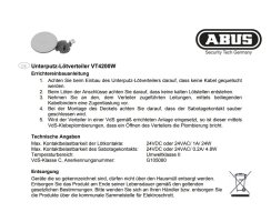 ABUS VT4200W Unterputz-Lötverteiler 19-polig VdS C Alarmanlage