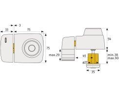 ABUS 7525 W weiß Tür-Zusatzschloss für Eingangstüren mit schmalen Rahmenprofilen Dornmaß 45 mm