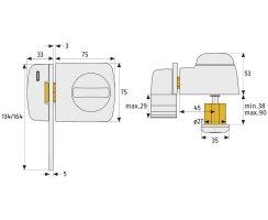 ABUS 7530 S silbern Tür-Zusatzschloss Eingangstür schmales Rahmenprofilen Sperrbügel Dornmaß 45 mm