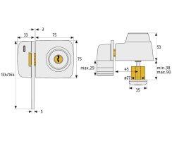 ABUS 7535 W weiß Tür-Zusatzschloss Eingangstür schmales Rahmenprofilen Sperrbügel Dornmaß 45 mm