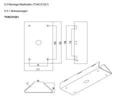 ABUS TVAC31221 Masthalter + Langer Wandhalter für PTZ IP Kamera Mastbefestigung