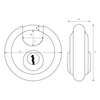 2 X Vorhängeschloss Einzigartig Diskusschloss Edelstahl Schloss 70mm Silber DHL