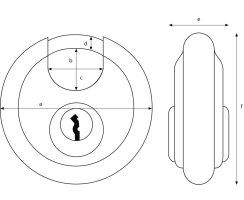 ABUS Diskus 24/70 Vorhangschloss verschiedenschliessend mit Präzisions-Stiftzylinder Anti-Pick-Stiften