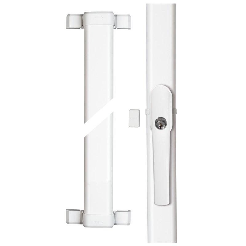 ABUS FOS550A W weiß Fensterstangenschloss mit Alarm Terrassentüren Balkontüren