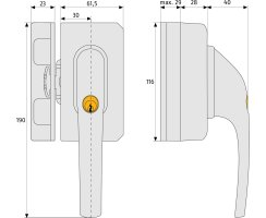 ABUS FO500N B EK braun Fenster-Zusatzschloss mit Sperrbügel FO 500