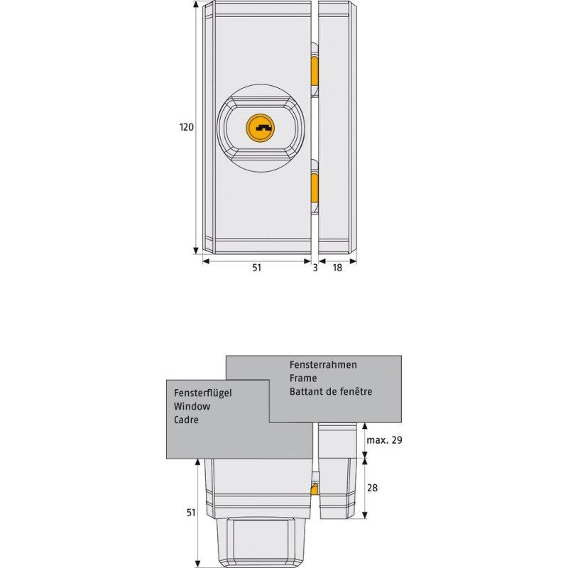 einbruchschutz fenster universalschloss fts96 abus. Black Bedroom Furniture Sets. Home Design Ideas