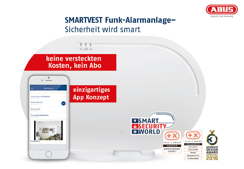 abus smartvest funk alarmanlage mit home automation. Black Bedroom Furniture Sets. Home Design Ideas